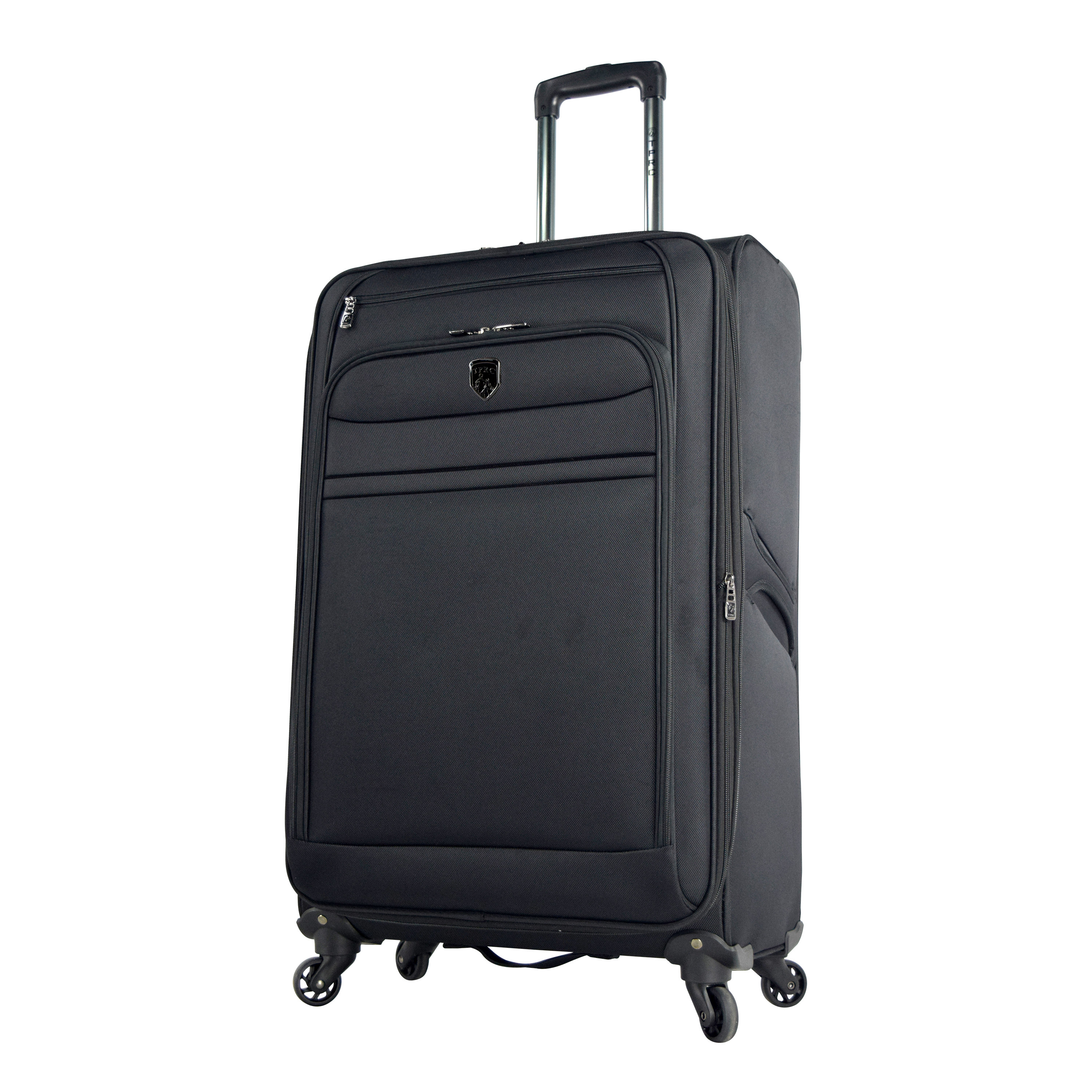 black suitcase standing up with expandable zipper and rotating wheels