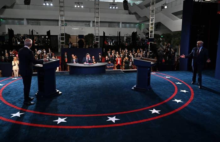 The debate hall on Tuesday night