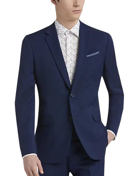 model wears navy suit