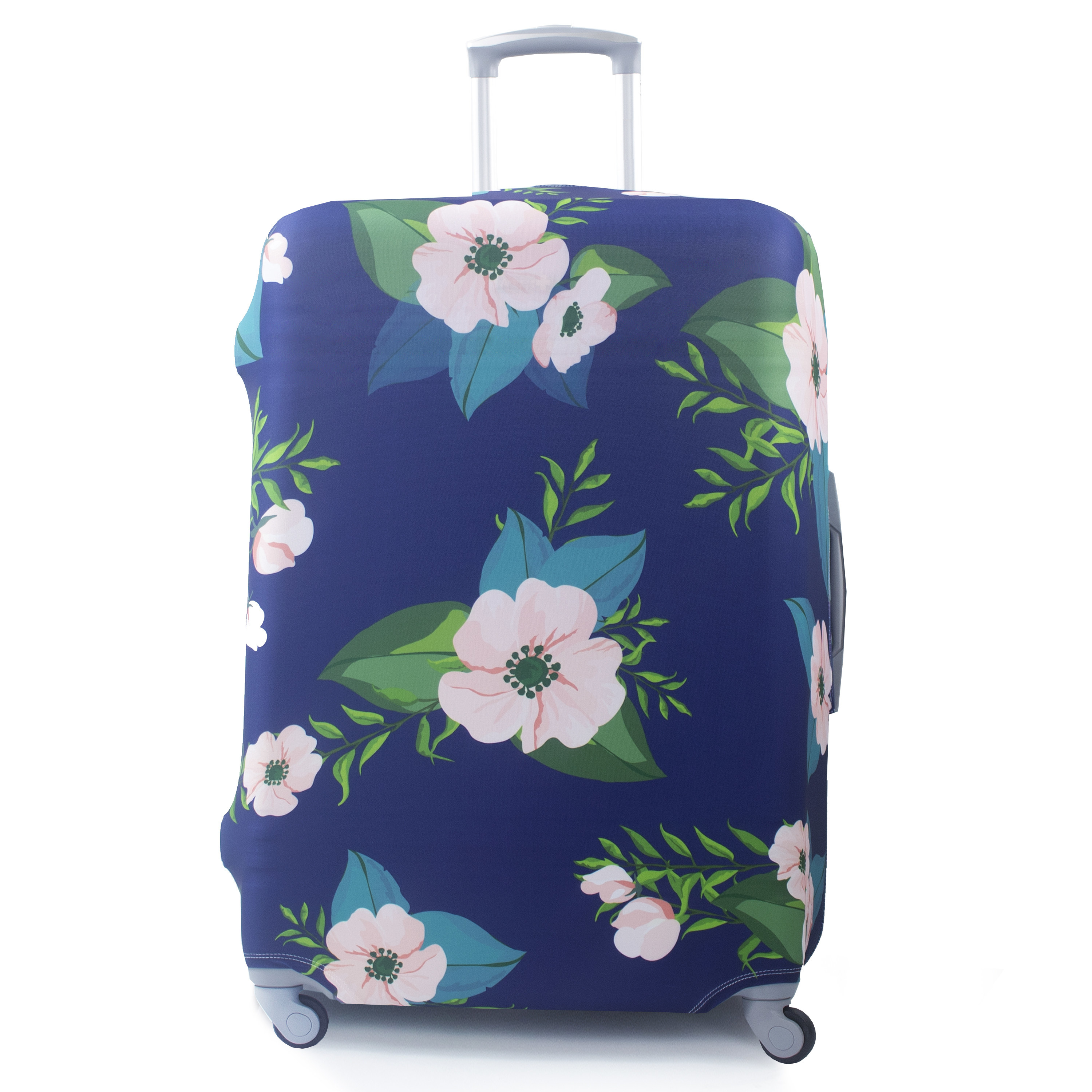 floral suitcase protector cover over a rolling luggage