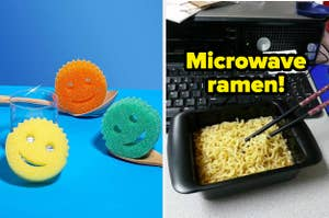 """On the left, Scrub Daddy sponges in various colors. On the right, cooked ramen in a rectangular container with the text """"Microwave ramen!"""""""
