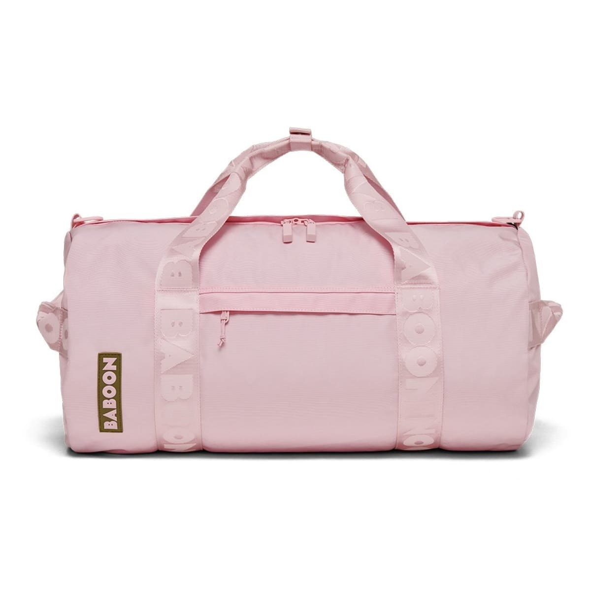 pink duffel bag with outside pocket