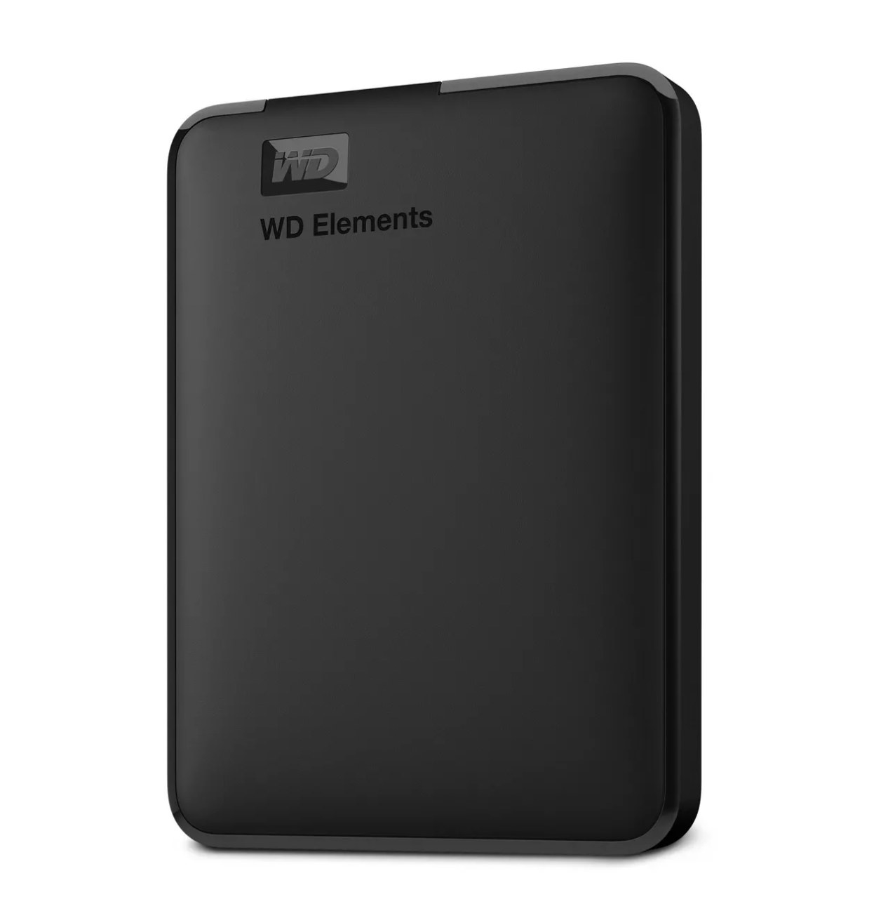 A black portable hard drive
