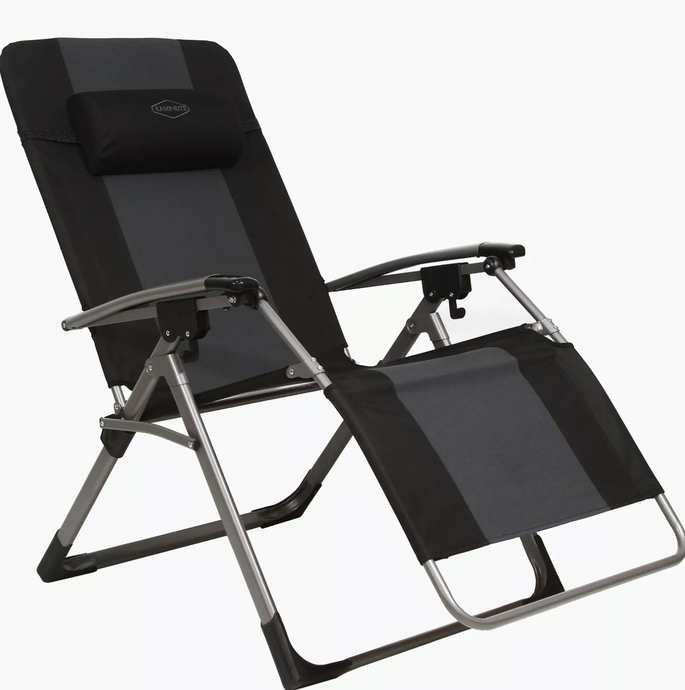 A black antigravity folding reclining chair