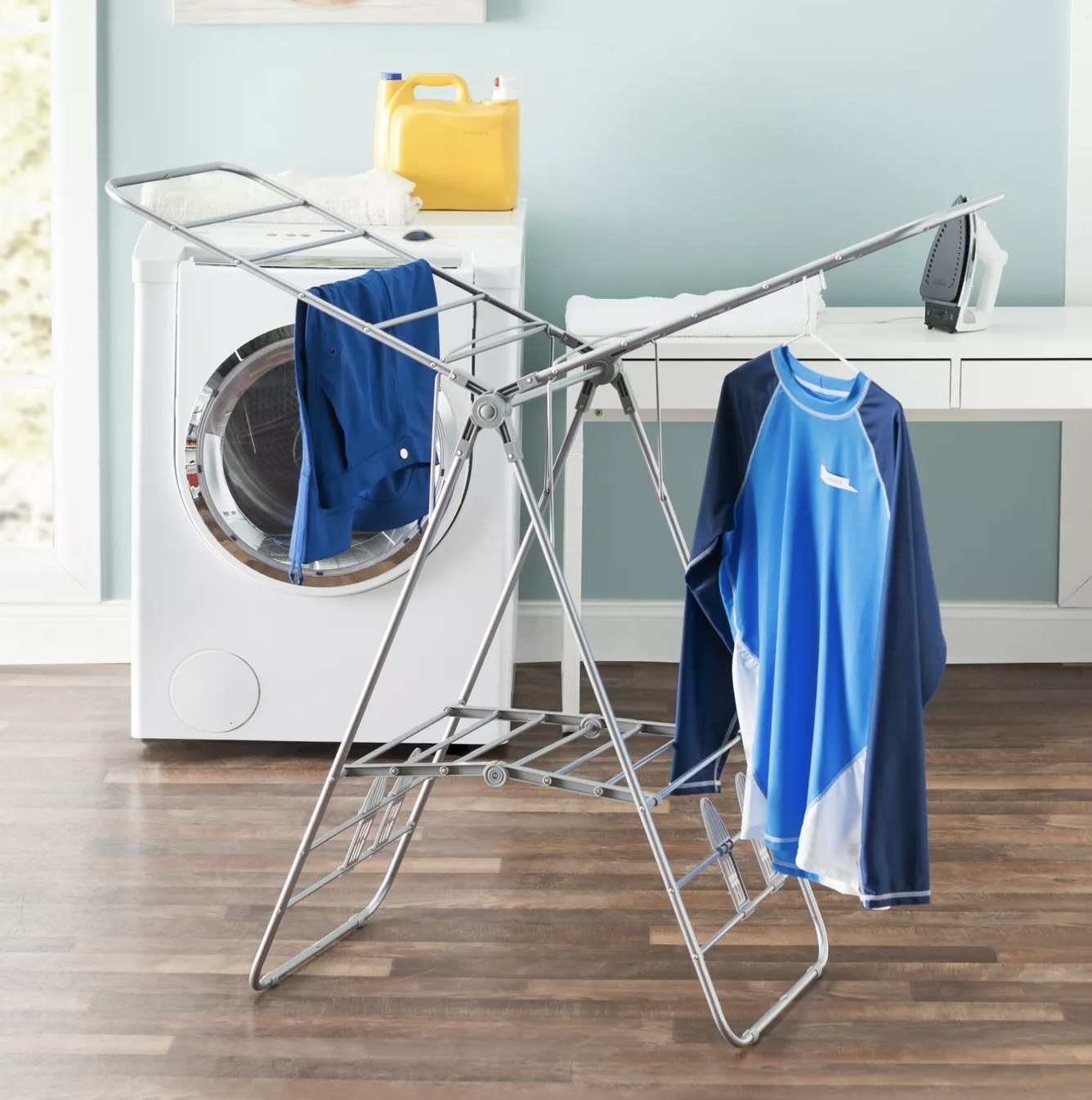 the silver laundry rack