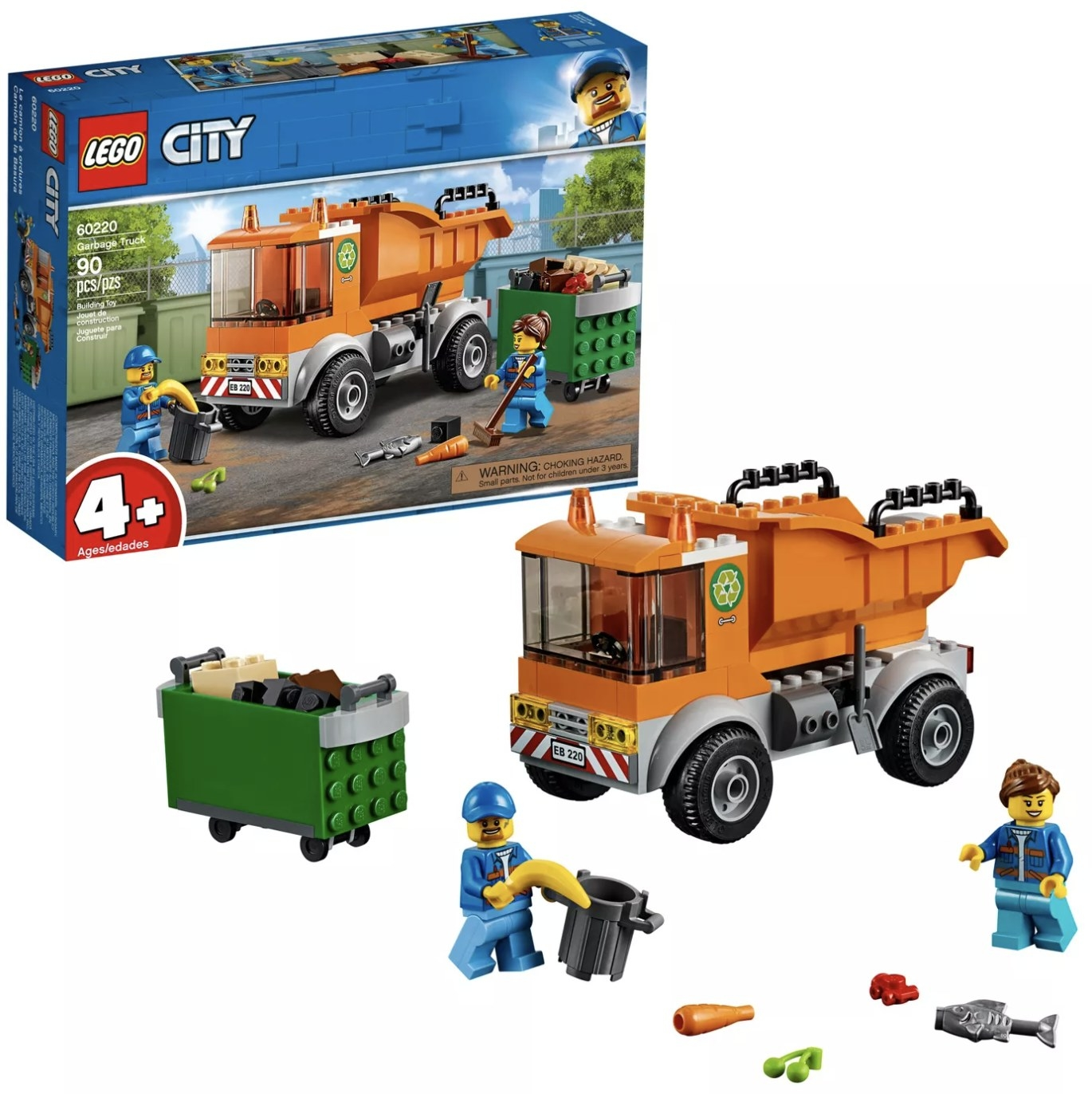 A LEGO City box with the garbage truck, bin, and workers next to it