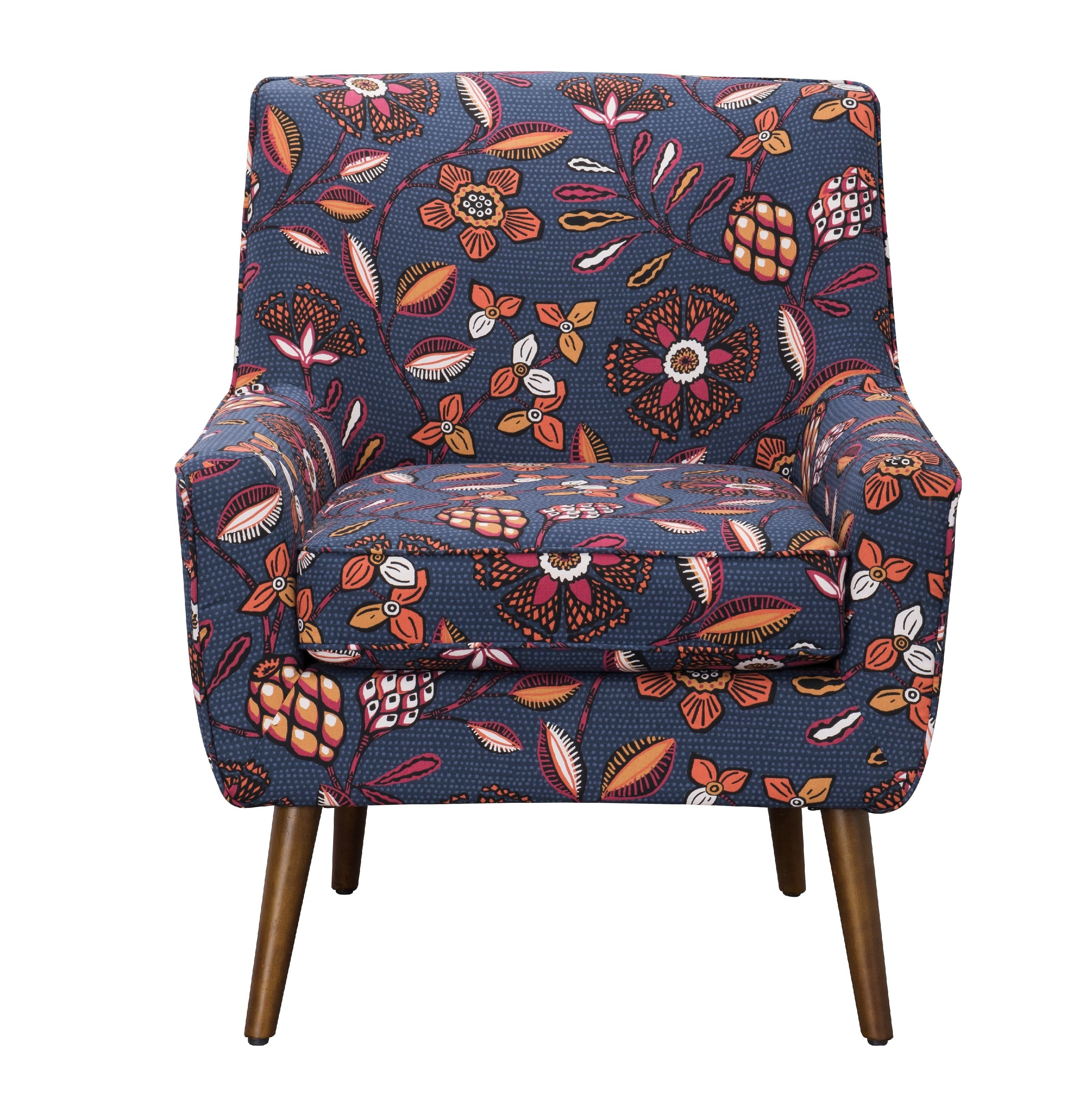 blue and floral pattern accent chair with gold hairpin legs