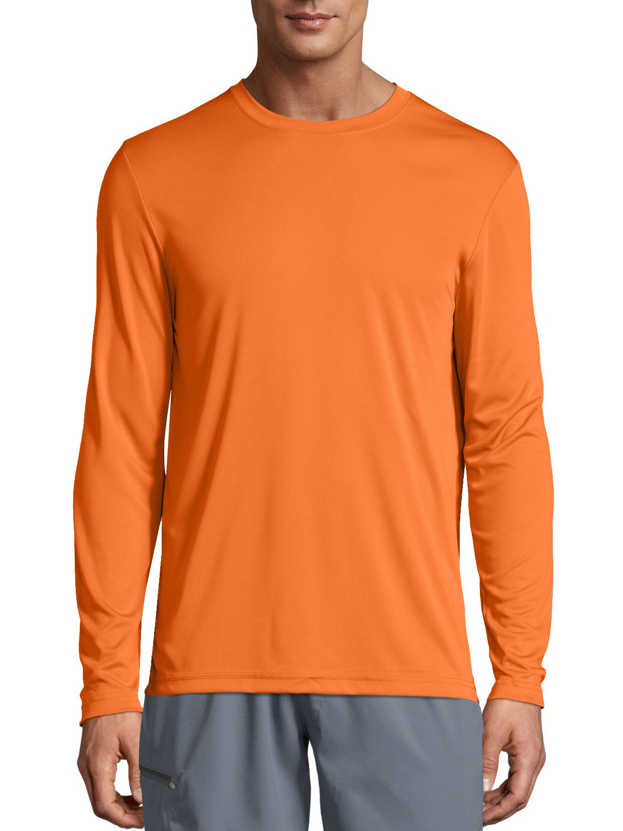 person wearing an orange long sleeve t shirt