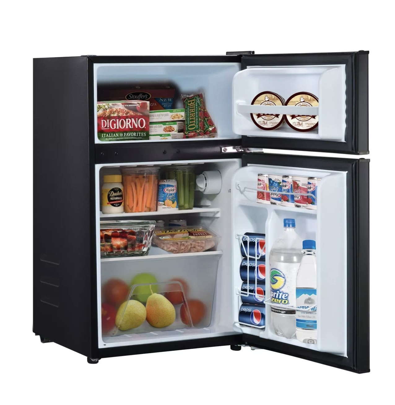 A black mini fridge with two shelves and a drawer in the inside and shelves on the door for drinks