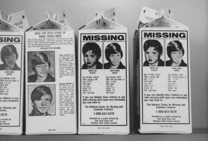 photo of milk cartons with Johnny and Eugene on the sides