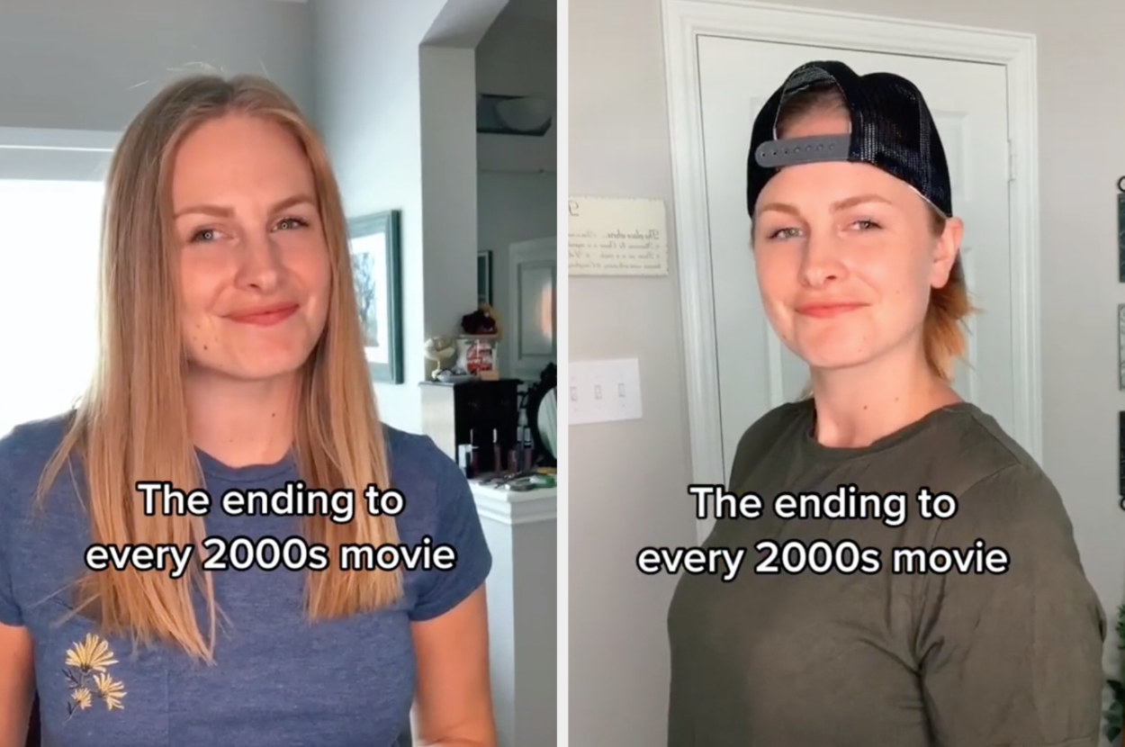 The TikToker pretends to be two different actors smiling at each other after a goodbye