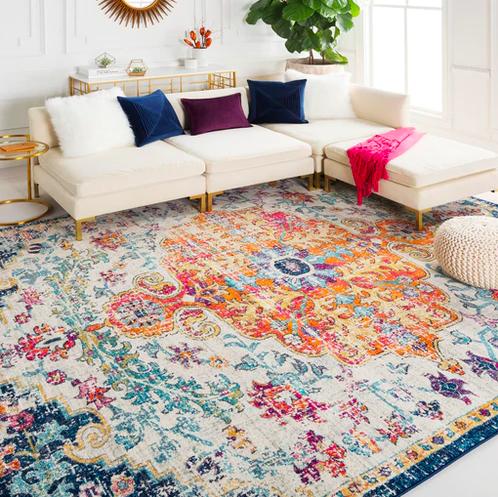 Oriental patterned blue orange pink  rug