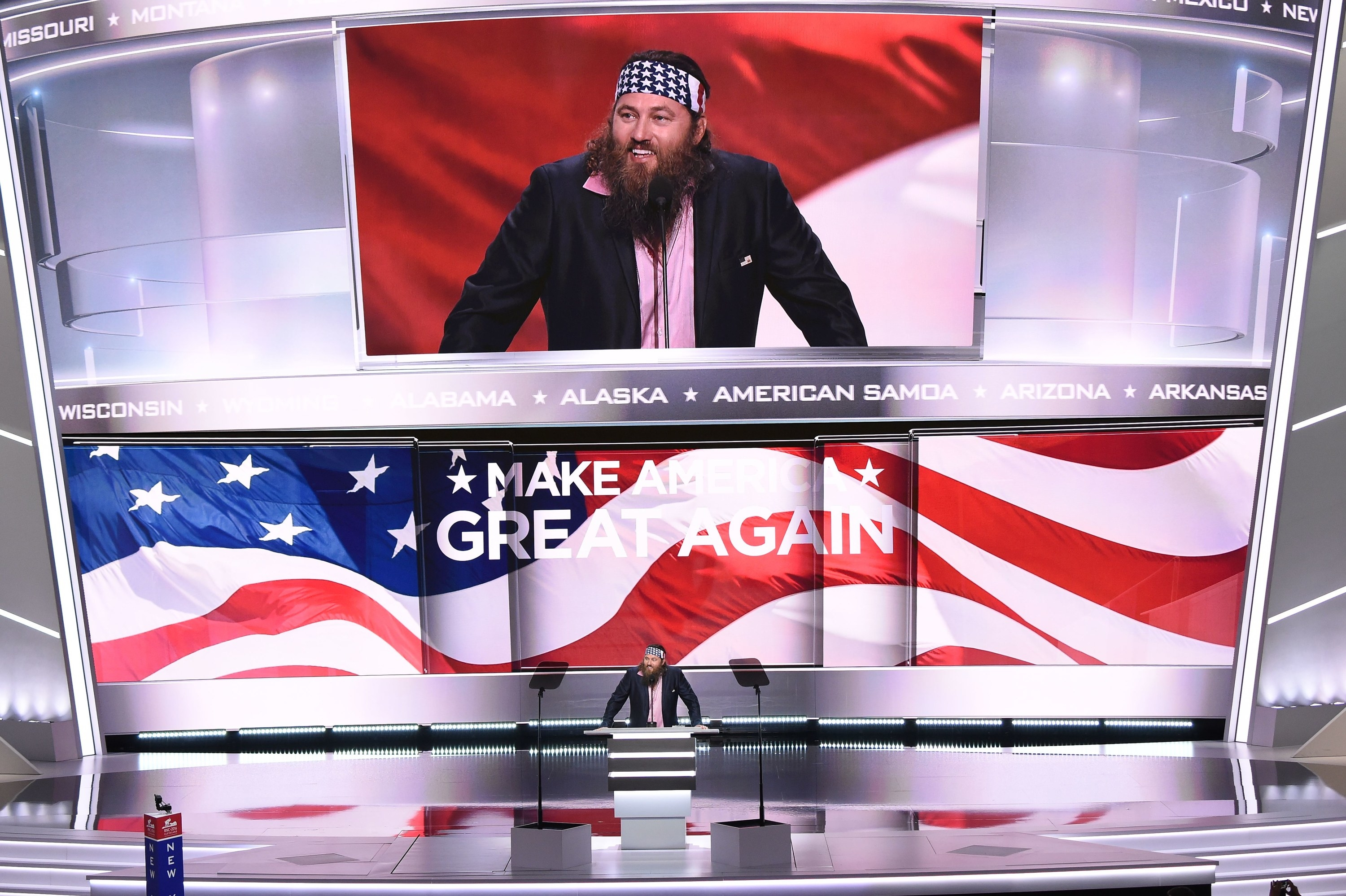 A member of the Duck Dynasty family speaking at the RNC