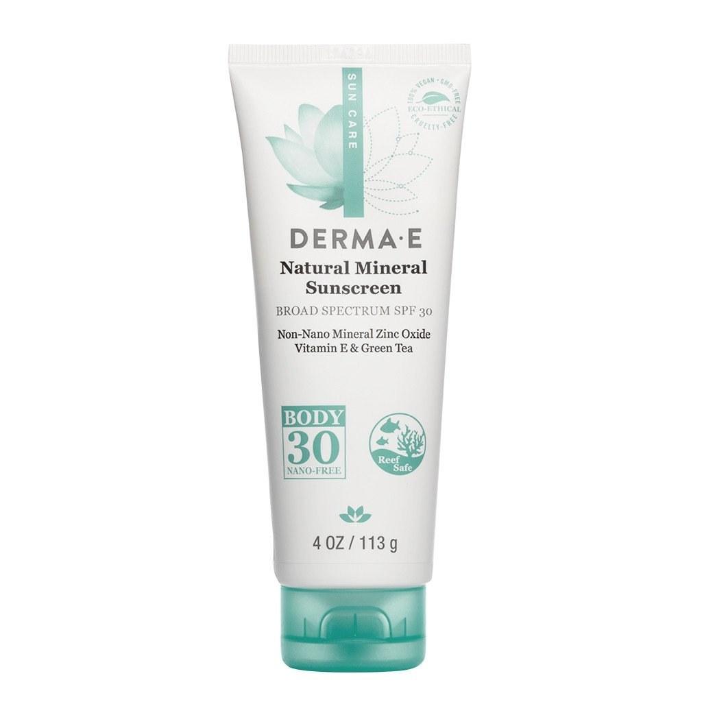 bottle of derma e natural mineral sunscreeen