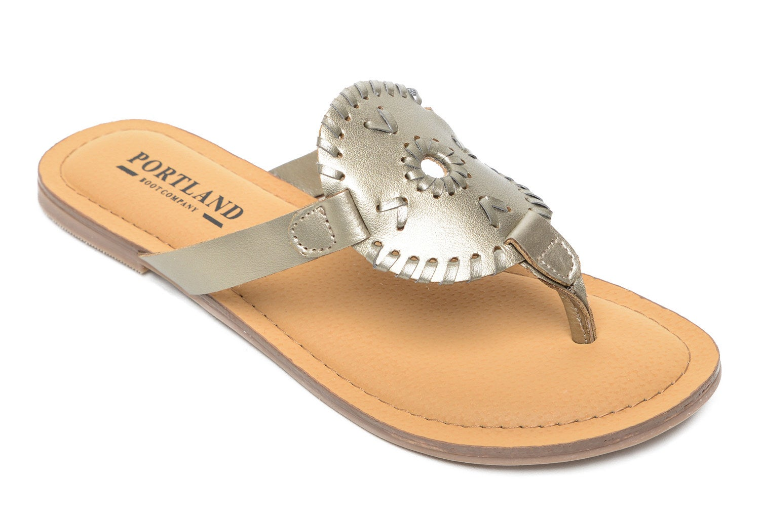 one portland boot company sandal with a metallic gold sandal design