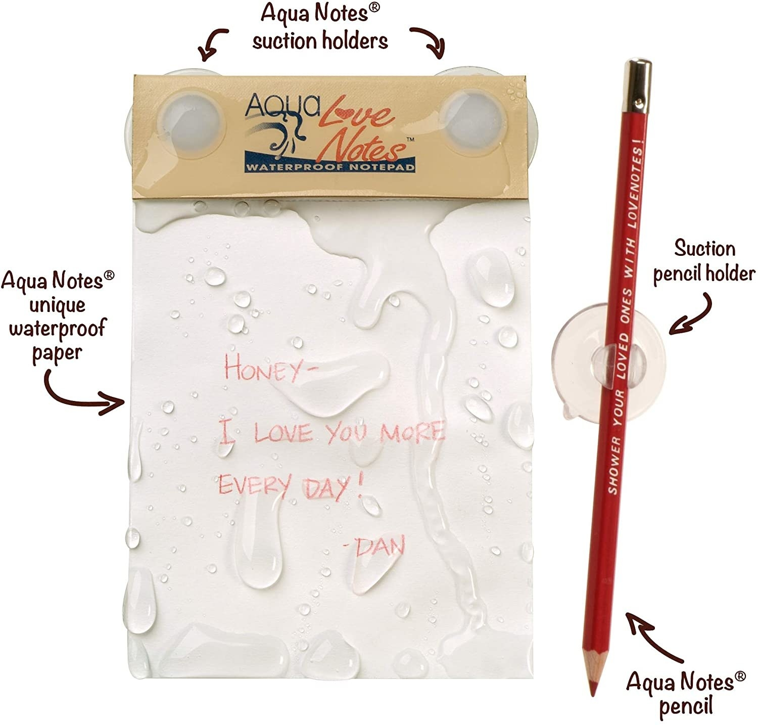 the note pad comes with suction cups to hold it to the wall, a pencil, and a pencil holder