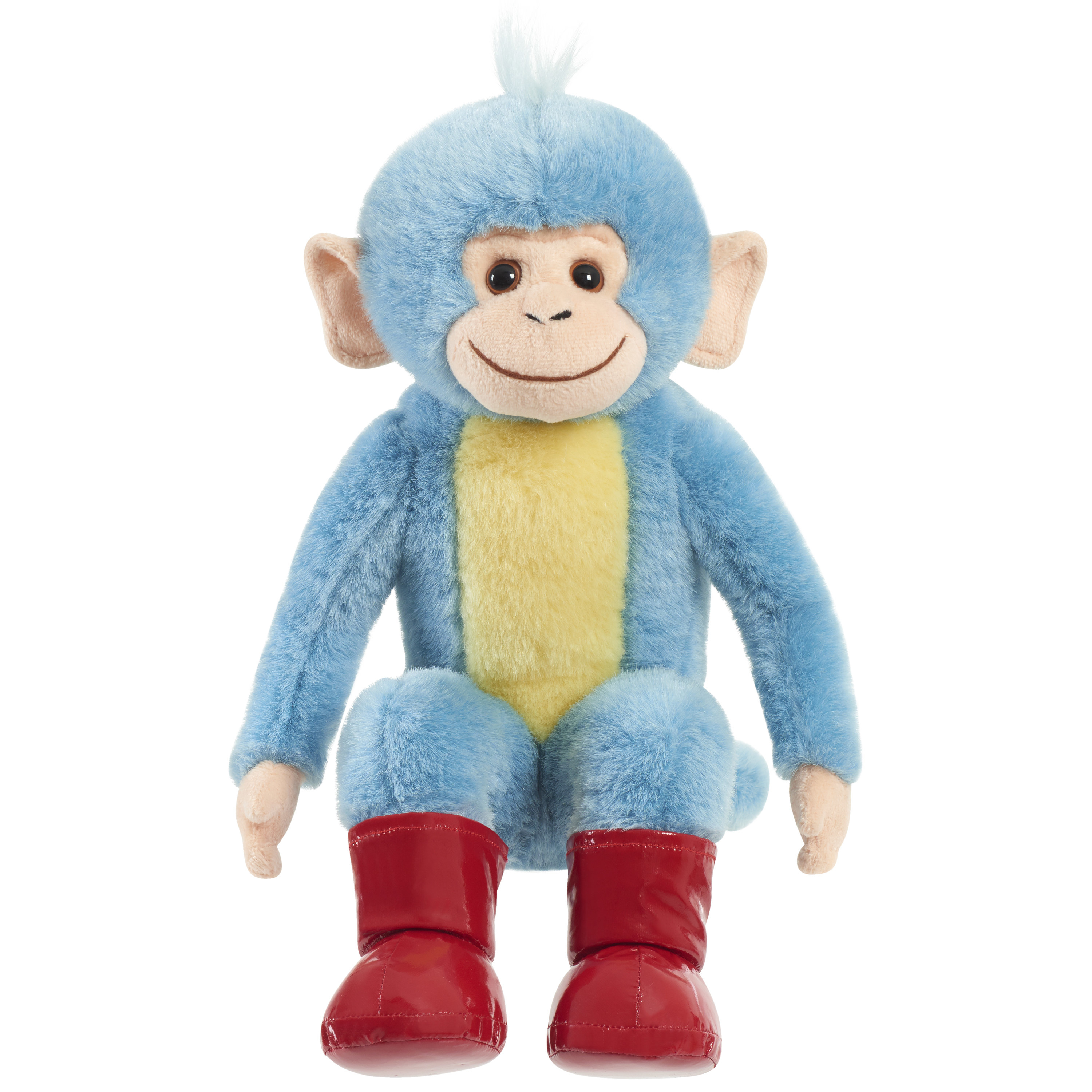 plush toy of a blue and yellow monkey with red boots