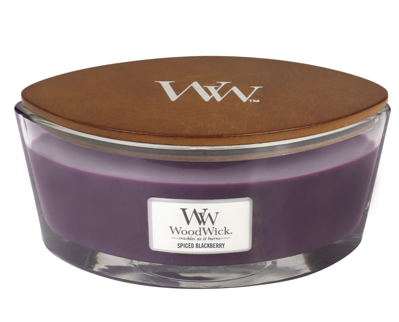 the hourglass shaped purple candle with a wooden wick