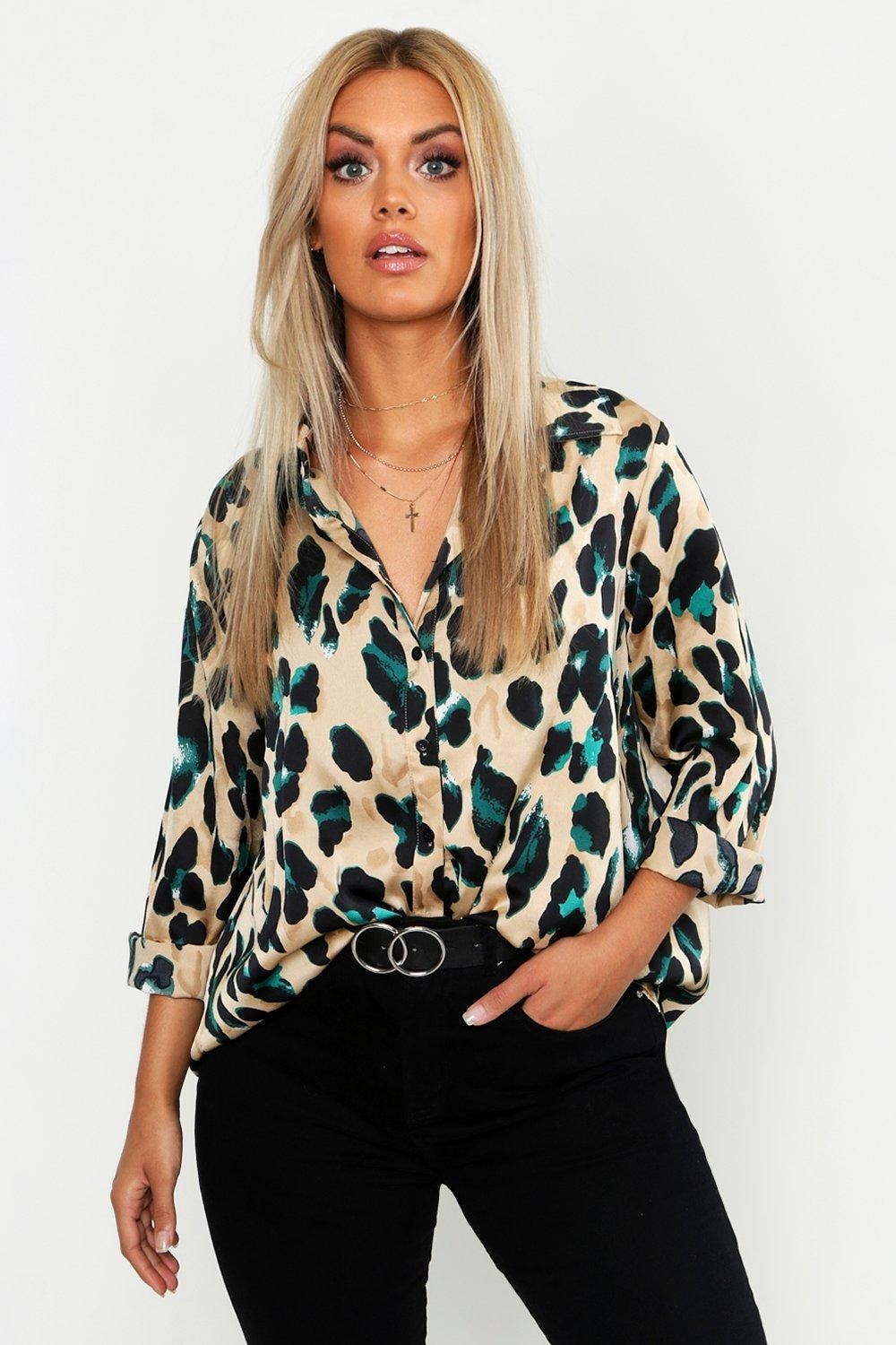 model wearing brown and blue leopard print button up