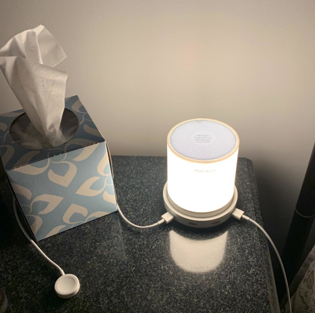 A reviewer's lamp with two cords attached