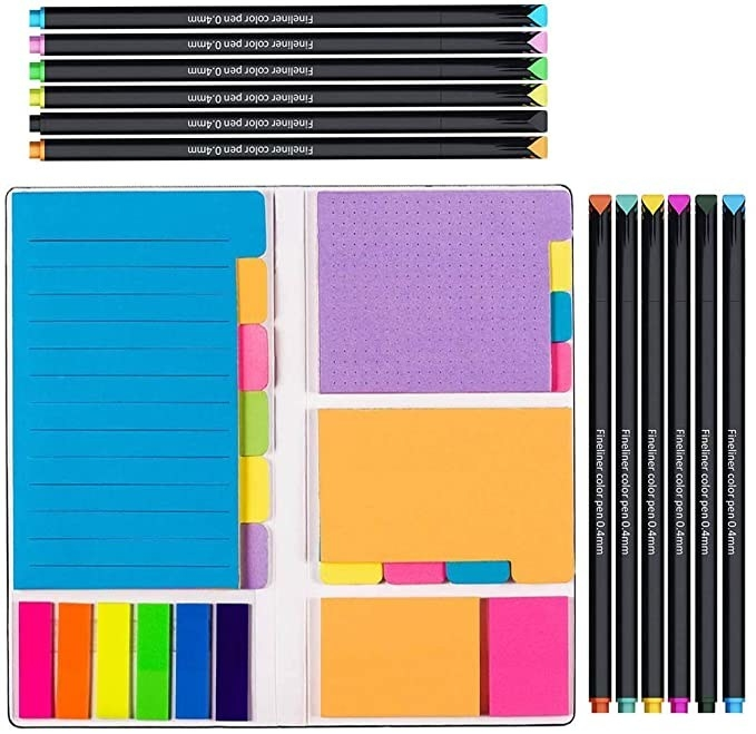 The full Vicnova Large and Small Sticky Notes Set with Fineliner Color Pens Set