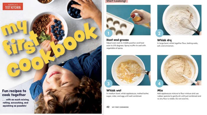 The cookbook cover, plus a page showing the steps for making muffins