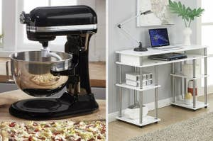 on the left, a black KitchenAid mixer and on the right, a white desk