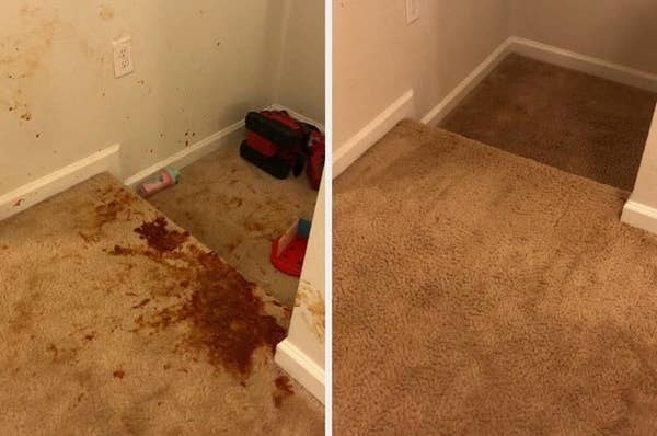 On the left, a carpet looking dirty, and on the right, the same carpet now clean after using the spray