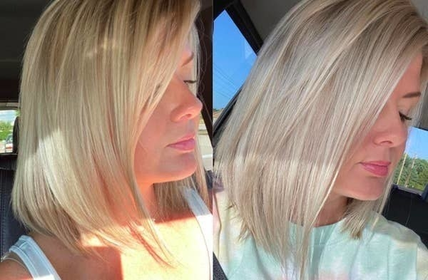 A reviewer's hair looking more blonde after continued use of the shampoo