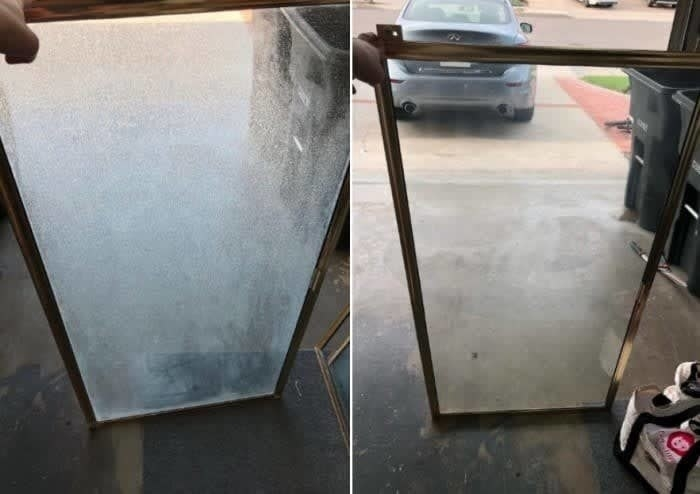 On the left, a piece of glass looking fogged up from hard water stains, and on the right, the same piece of glass now completely clear