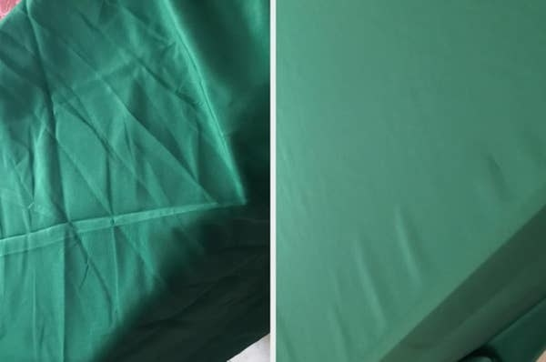 On the left, a sheet with wrinkles, and on the right, the same sheet now free of wrinkles after using the spray