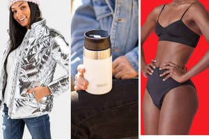 split thumbnail of model in a silver puffer jacket, person holding a camelbak, person in period proof underwear