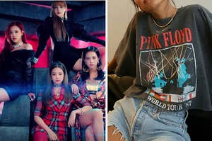 An image of Blackpink next to an image of an outfit with a pink floyd t shirt and shorts