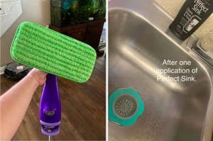 to the left: a reusable swiffer cloth, to the right: a clean kitchen sink