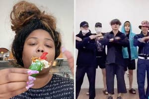 Lizzo holding a jalapeño stuffed with Takis, and BTS dancing
