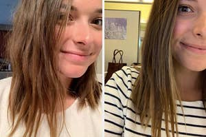 A before-and-after photo for a hair mask