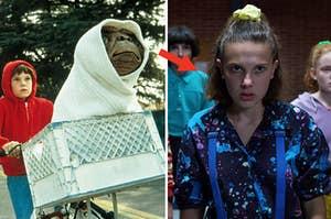 (left) E.T. rides in the famous bike basket; (left) Eleven from Stranger Things looks upset