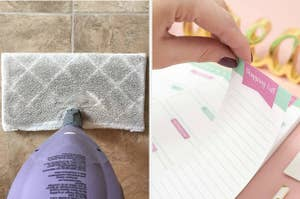 A dirty mop on tile; a hand tearing off a shopping list