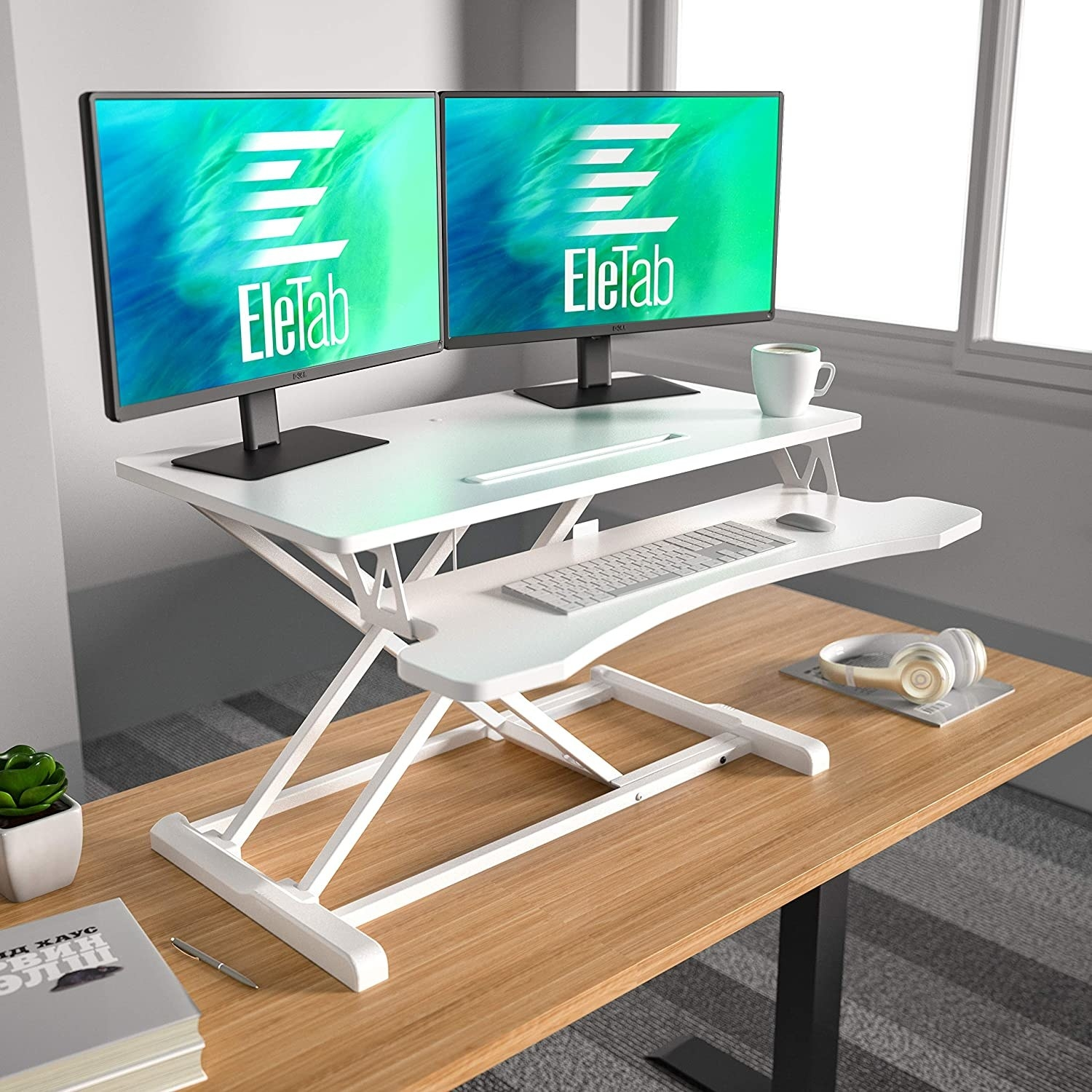 the two-level standing desk in white