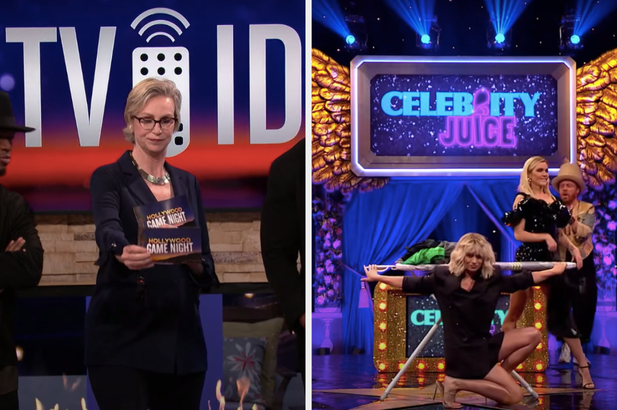 Jane Lynch on Hollywood Game Night and Pussycat Dolls Kimberly Wyatt and Ashley Roberts dancing near an ironing board on Celebrity Juice