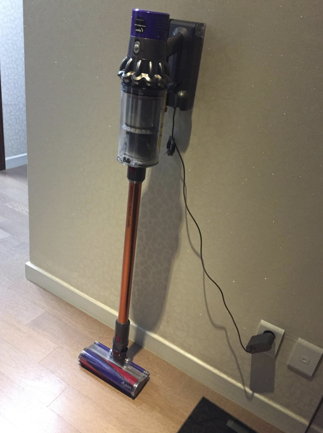 the dyson vacuum which is skinny like a broom and has a rectangular suction at the bottom. It's plugged up in the wall.