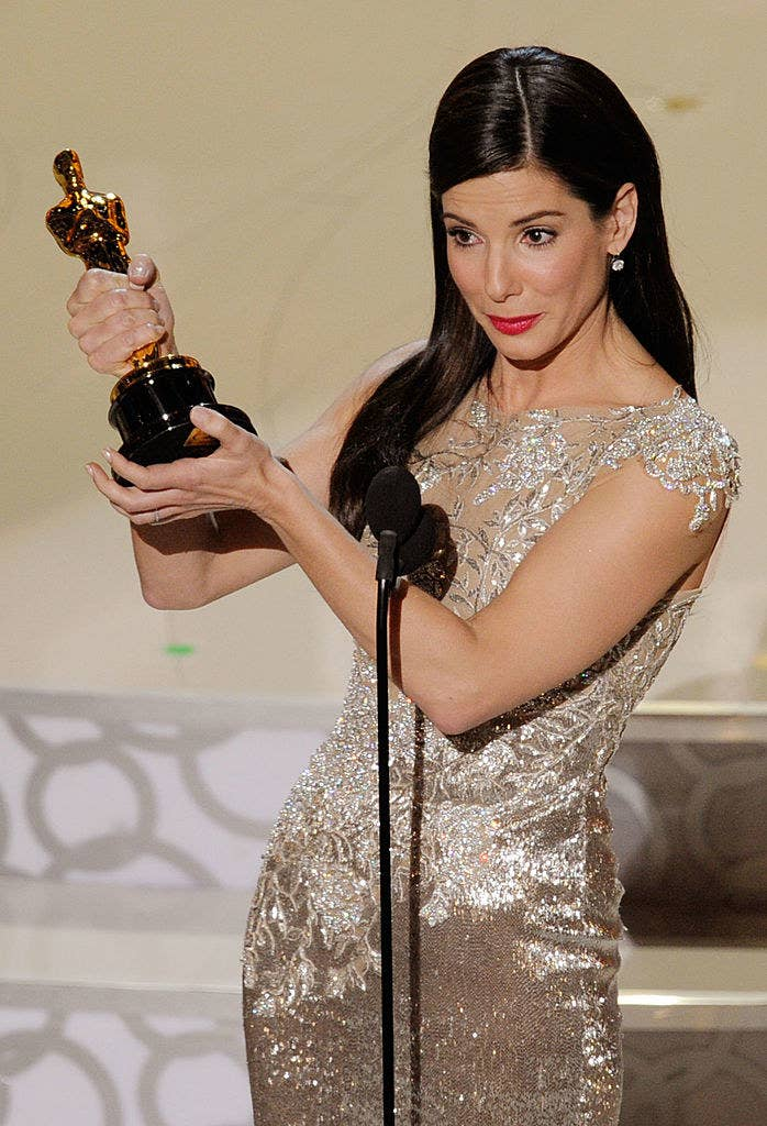 Sandra Bullock accepting her Oscar award