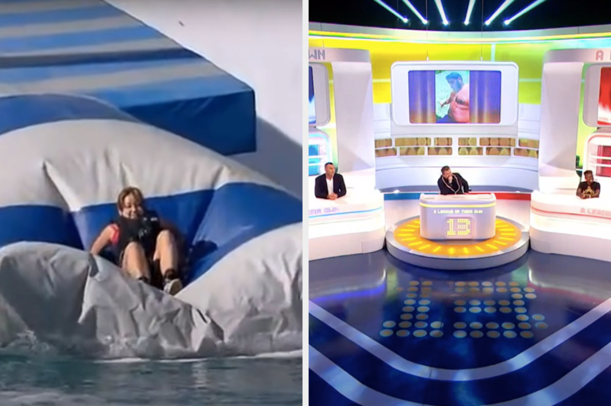 A woman struggling on Wipeout and the A League of Their Own studio