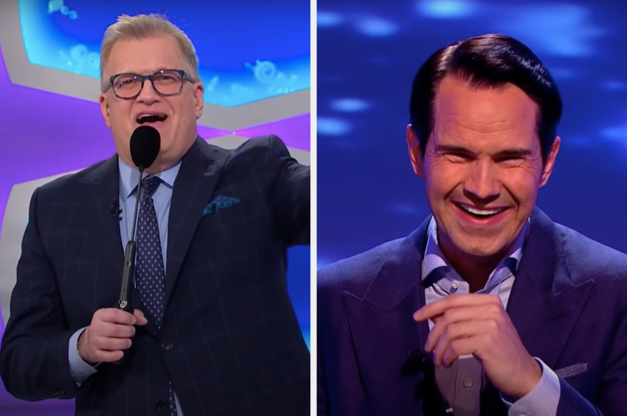 Drew Carey hosting The Price Is Right and Jimmy Carr laughing while hosting 8 Out of 10 Cats