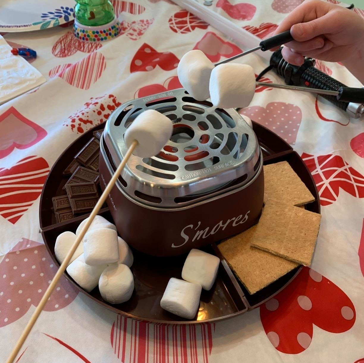 reviewer's family roasting marshmallows