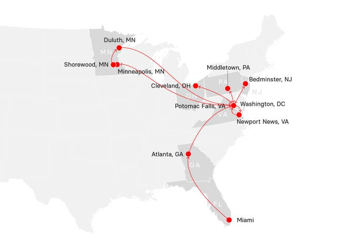 A map of Trump's travels from Friday, September 25, through Thursday, October 1