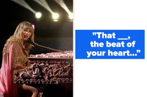 """Taylor Swift singing at a piano, """"Last Kiss"""" lyrics with missing words"""