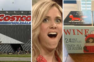A Costco Wholesale store and a box containing the wine advent calendar.