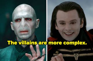 Voldemort and Aro and the words: Harry Potter and Bella Swan, and the words: the villains are more complex.