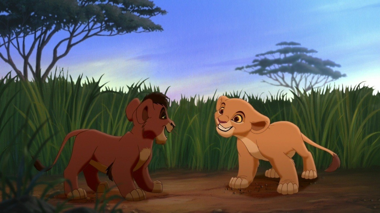 "Kovu and Kiara stand in a field in ""The Lion King II"""